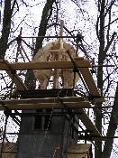 Detail rekonstrukce šindelové kapličky v Nesvačilech u Rožmitálu