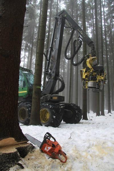 Lesní těžba - harvestor a JMP